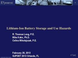 Lithium-Ion Battery Storage and Use Hazards (Exponent) - Prba