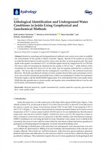 Lithological Identification and Underground Water Conditions ... - MDPI
