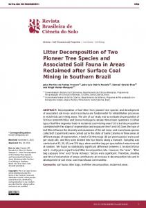 Litter Decomposition of Two Pioneer Tree Species and ... - SciELO