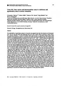 Litter fall, litter stocks and decomposition rates in ... - Springer Link