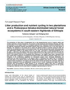 Litter production and nutrient cycling in two ... - Academic Journals