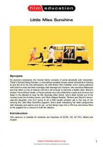 Little Miss Sunshine study notes - Film Education