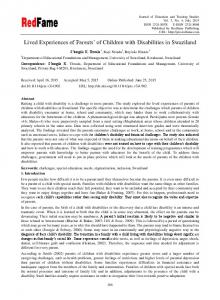 Lived Experiences of Parents' of Children with Disabilities in ... - Eric