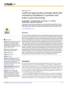 Livelihood opportunities amongst adults with and without disabilities in ...