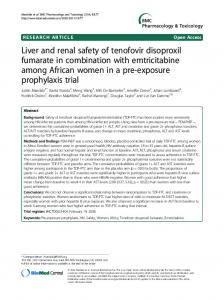 Liver and renal safety of tenofovir disoproxil fumarate in ... - Core