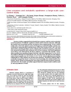 Liver enzymes and metabolic syndrome: a large