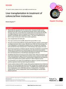 Liver transplantation in treatment of colorectal liver ... - Future Medicine