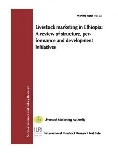 Livestock marketing in Ethiopia - AgEcon Search
