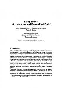 Living Book – An Interactive and Personalized Book - ANU College of