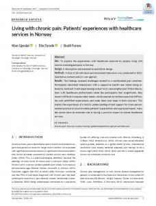Living with chronic pain: Patients' experiences with ... - BIBSYS Brage