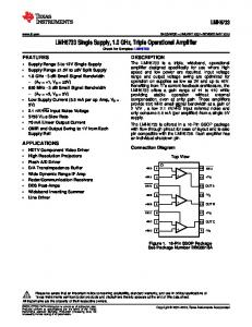 LMH6733 Single Supply, 1.0 GHz, Triple Operational Amplifier (Rev ...
