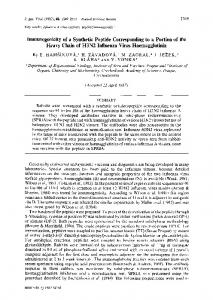 lmmunogenicity of a Synthetic Peptide Corresponding to a ... - CiteSeerX