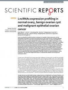LncRNAs expression profiling in normal ovary, benign ... - Nature
