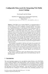 LNCS 3815 - Configurable Meta-search for Integrating ... - Springer Link