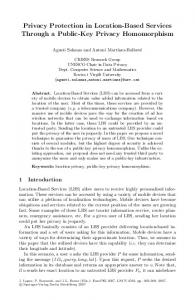 LNCS 4582 - Privacy Protection in Location-Based ... - crises / urv