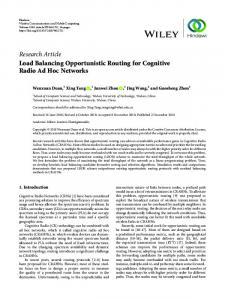 Load Balancing Opportunistic Routing for Cognitive Radio Ad Hoc