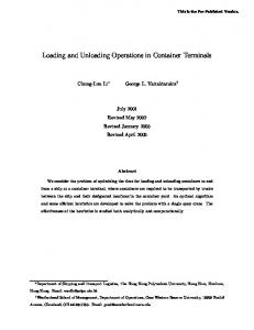 Loading and Unloading Operations in Container ... - Semantic Scholar