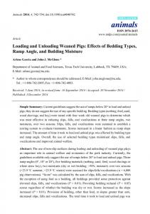 Loading and Unloading Weaned Pigs: Effects of Bedding ... - MDPI