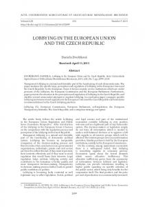 LOBBYING IN THE EUROPEAN UNION AND THE CZECH REPUBLIC