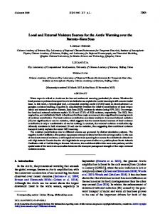 Local and External Moisture Sources for the Arctic ... - AMS Journals