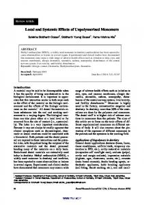 Local and Systemic Effects of Unpolymerised Monomers