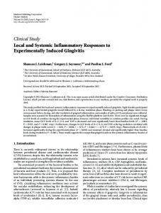 Local and Systemic Inflammatory Responses to Experimentally