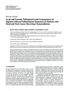 Local and Systemic Pathogenesis and Consequences of Regimen