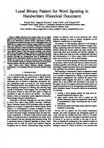 Local Binary Pattern for Word Spotting in Handwritten Historical ... - arXiv