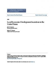 Local Economic Development Incentives in the United States