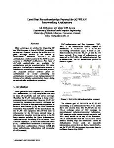Local Fast Re-authentication Protocol for 3G-WLAN ... - IEEE Xplore