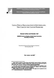 local fiscal equalisation in switzerland: the case of the ... - CiteSeerX