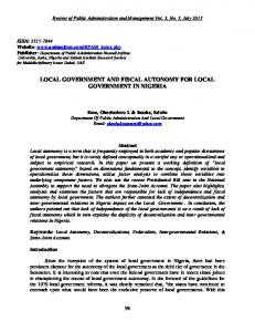 local government and fiscal autonomy for local government in nigeria