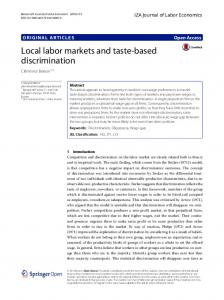Local labor markets and taste-based discrimination | IZA Journal of ...