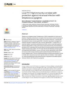 Local Th17/IgA immunity correlate with protection against ... - PLOS