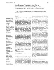 Localisation of a gene for prepubertal periodontitis to ... - Europe PMC