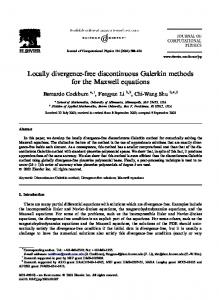 Locally divergence-free discontinuous Galerkin methods for the ...