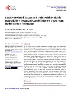 Locally Isolated Bacterial Strains with Multiple Degradation Potential ...