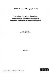 Location, Location, Location - Australian Council for Educational ...
