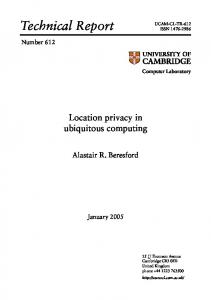 Location privacy in ubiquitous computing