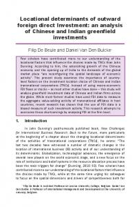 Locational determinants of outward foreign direct Investment - Unctad