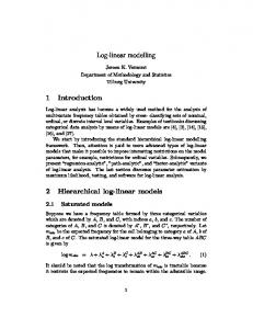 Log-linear modelling 1 Introduction 2 Hierarchical log-linear models