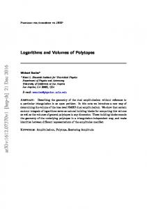 Logarithms and Volumes of Polytopes