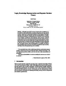 Logic, Knowledge Representation and Bayesian Decision Theory
