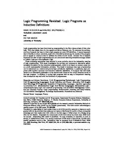 Logic Programming Revisited: Logic Programs as ... - CiteSeerX