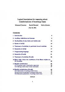 Logical foundations for reasoning about transformations of ... - IRIT
