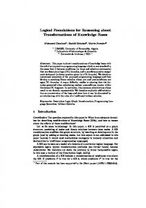 Logical Foundations for Reasoning about Transformations of