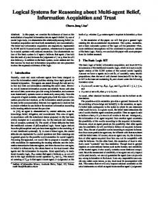 Logical Systems for Reasoning about Multi-agent ... - Semantic Scholar