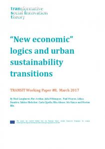 logics and urban sustainability transitions - TRANSIT social innovation