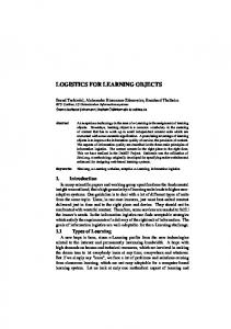 logistics for learning objects