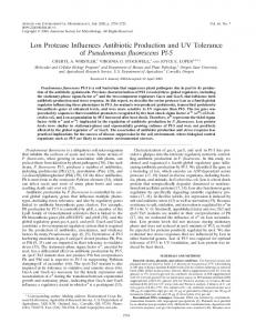 Lon Protease Inffuences Antibiotic Production and UV Tolerance of ...